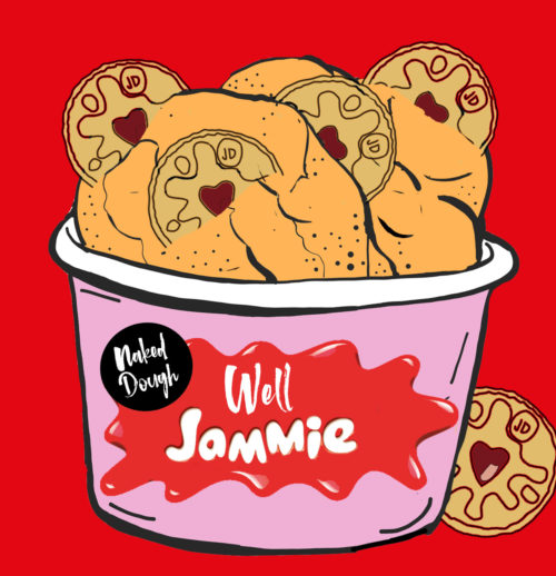 Well Jammie cookie dough with Jammie Dodger biscuits.