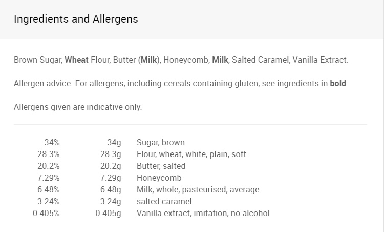 Ingredients & Allergens - Nak-Ed Sheeran.